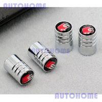 1 set x  Car Sline Red Logo Emblem Wheel Tyre Valve Stems Air Dust Cover Screw Caps 1 set = 4pcs