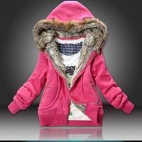 leather Autumn Winter coat down jacket cotton sweatshirt outerwear hoodies 2014 winter women fashion sweater