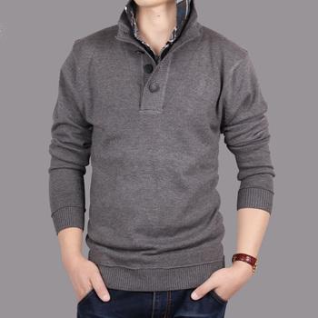 Новые 2014 мужские свитера и пуловеры вязаные с воротник рубашки мужчин плюс размер свитер личности поло свитера кардиган мужчины .