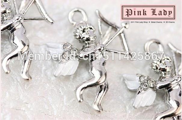 H10e Wholesale Price 3 pcs Cute Rhinestones Cupid Love Angel Charm Necklace pendant