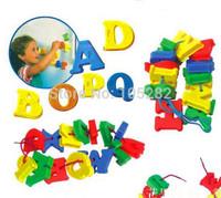 2014 New3C Children Educational PVC Plastic Toys Puzzle Colorful 26 Letter Threading Bead Building Block Model Building Kit gift