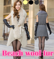 Wholesale 2014new 100% Natural Beach wool fur and mohair Fabric sweater dress Coat plus size cardigan women ladies autumn winter
