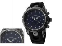 Free shipping 2014 hot sale business brand  MEN pu silicone sport watch, Big dial quartz calendar watch good gift