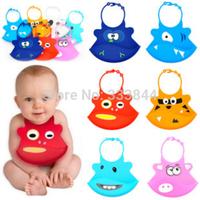 Free Shipping 1PC 2014 Infant Baby Silicone Kid Washable BB Bib Crumb Catcher Fun Characters Waterproof Bibs BP11