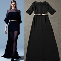 Free shipping 2014 Spring New Arrival Women runway fashion high quality short lining Perspective lady sexy long evening dress