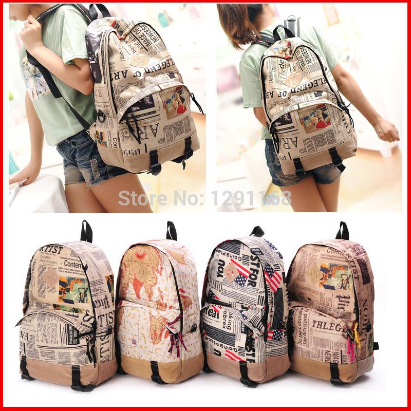 Schultasche Jugendliche schultaschen Zeitung muster rucksack mit großer kapazität reisetaschen Vintage-Stil mode tasche