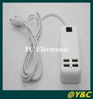 Free shipping 2014 NEW EU US Plug 15W USB Desktop Charger AC Power Adapter with 5m Line 4 Port USB HUB