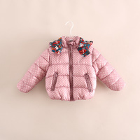 2014 winter hot sale fashion children girl round dot padded coat warm jackets outerwear