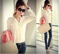 free shipping new 2014 women spring summer V-neck chiffon elegant all-match solid botton casual spirals shirt blouse