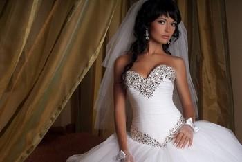 Винтаж бальное платье милая с длинным бисером люкс кристалл длиной до пола , свадебные платья свадебные платья vestido де noiva 2014 AL-1405