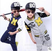 6-14Y New 2014 Autumn Boys Kids Clothes Fashion Boy Clothing Sport Kids Clothes Sets Baseball Sportswear Casual Boy Clothing Set