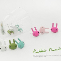 Free shipping!5pair /lot Korean style candy colored cute bunny earrings fashion stud earrings for girls wholesale!