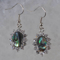 10 Pairs/lot New Fashion MOP Abalone Shell Inaly Rhinestone CZ Oval Beads Dangle Earrings Wholesale