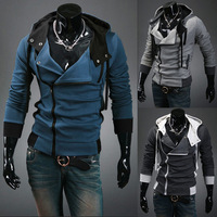 2015 New Arrival 5 Color Men Male Spring Winter Hooded Jacket Zipper Fashion Coats Cardigan Slim Fit  Over Size L-4XL