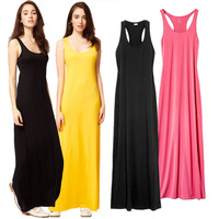 Hot sale 11 colors plus size women summer casual maxi beach cover dresses girl sleeveless long vest cotton dress 2014 new S-XL