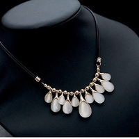 Sunshine jewelry store HOT Europe Necklaces & Pendants Stunning Opal Water Drop Black Rope Collar Statement Necklace For Party