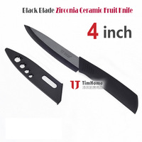 Free Shipping TJC-002BK 4 Inches Ceramic Fruit Knife Black Blade Zirconia Made PVC Sheath Ever Sharp Never Rusting Antiboisis