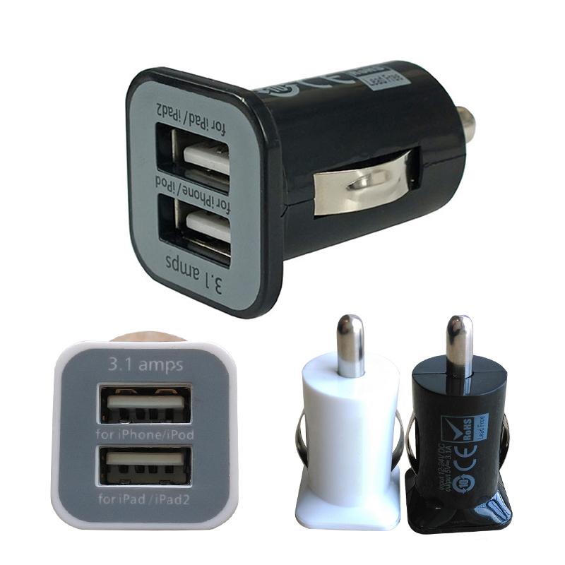 2-Port Mini Universal Dual USB Car Charger Adapter Bullet, 5V 2.1A + 1A, Black White PMHM109*13(China (Mainland))
