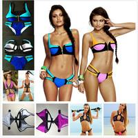 Sexy Plus Size Swimwear Neon Pink/Blue Color Block Zipper Push-Up Padded Top & Skimpy Bikini Bottom Brand Swimsuit Size S-XL