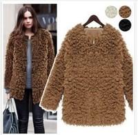 2014  European And American Solid Design women Faux Fur Winter Long sleeve Outerwear Plus Size Women Coat