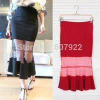 2014 New Summer Spring Women Mermaid Skirts Fashion Sexy Sheer Mesh Skinny Skirt In Black Red For Female Girl 14706