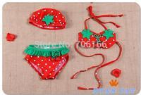 Newest princess baby swimsuit+hat,kids girls bikini swimwear Cute strawberry cotton two-pieces child bathing suit,free shipping