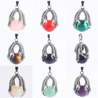 New Fashion Mixed stones Eagle Claw Hold Wrapped Amethyst Opal Rose Quartz Red Agate Aventurine stone Pendant Beads Wholesale
