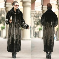 Faux lengthen  winter outerwear marten velvet imitation mink overcoat long design plus size thermal
