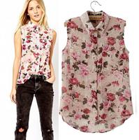 Free Shipping European And American Style Brand Summer PRINT FLOWERS Women Sleeveless Chiffon Shirts Fashion Blouse S-L