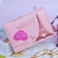 New 2014 Eiffel Tower Students Cartoon Short Money Wallet Card Purse Women Wallets Brand Design PU Leather Ladies Clutch Purses