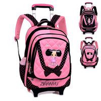 Supply high quality Trolley backpacks cute hot girl rucksack pretty US style detachable trolley school backpacks