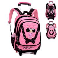 Supply high quality Trolley backpacks cute hot girl rucksack pretty US style detachable trolley school backpacks