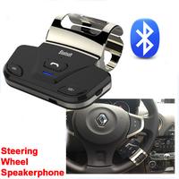 Bluetooth Speakerphone Car Kit Steering Wheel Hands-free Call Wireless Speaker Kit + Car Charger for iPhone Samsung New 2014