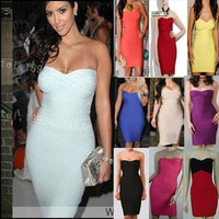 Bandage Bodycon Prom Ball Evening Rayon Hot Sexy Bridesmaid Dress Sexy Strapless Fashion Woman Dress Hollywood Star Style