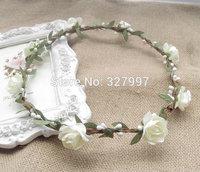 10x Boho Artificial flower handmade wedding basket girl wreaths valentine party garland white paper roseornament 17cm NW048