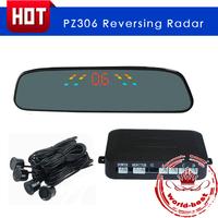 PZ306 LED digital display+4 sensors+3 step Bibi sound Rearview Mirror Car Parking Sensor Backup Reverse Radar Alert Alarm System