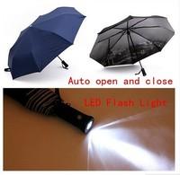Fashion men automatic umbrella with flashlight, Eiffel Tower UV protection three folds umbrellas