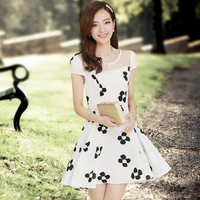 633 2014 spring o-neck short-sleeve chiffon one-piece dress plus size women's spring one-piece dress female