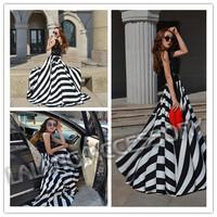 Fashion Chiffon Long Print Striped Dresses Women Blake Lace Summer Dress 2014 New Casual Big Wing Maxi Dress Vestidos 851505
