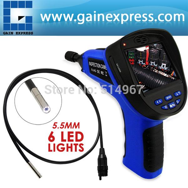 Poche industrielle 3.5 polegada LCD 5.5 mm caméra d'inspection vidéo 6 LED Endoscope enregistrement sonore 1 M câble Snakescope(Hong Kong)