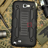 Free shipping Black Military Armor Hard Hybrid Case Cover Stand Holster Robot Combo Case for Samsung Galaxy N2 Note 2 N7100