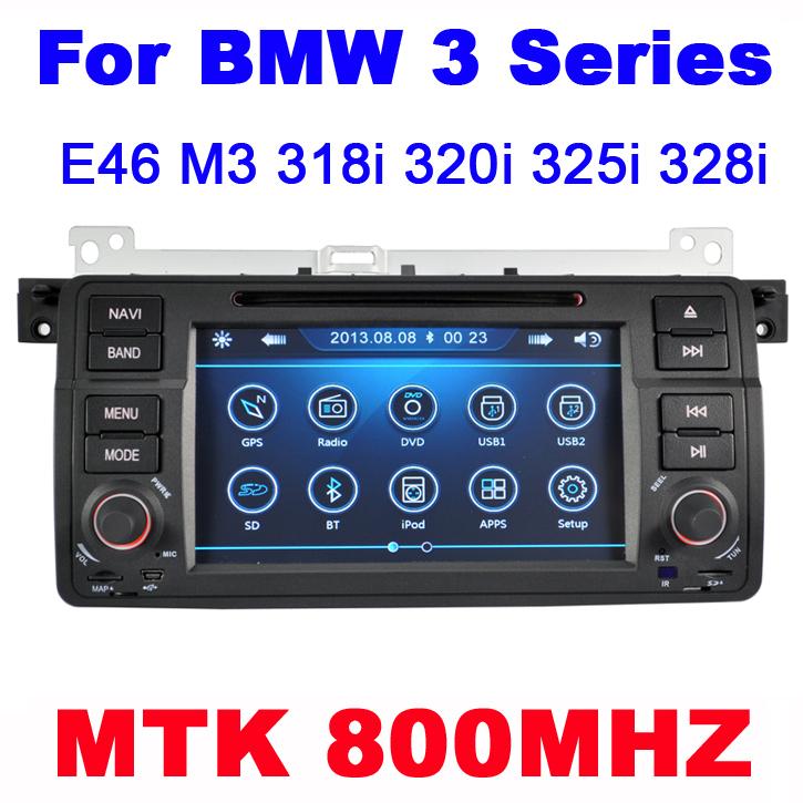 Car dvd for bmw E46 M3 318i 320i 325i 328i with CPU MTK3360 800MHZ Dual Core Radio Tape Recorder Stereo GPSmap Free Shipping(China (Mainland))
