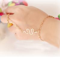 2 pieces/lot Fashion Elegant Women Girl Snake Ring Slave Hand Chain Bracelet Gold Tone Bangle
