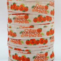 WM ribbon wholesale/OEM 5/8inch 16mm Happy Pumpkin Fold Over Elastic Halloween FOE Webbing 50yds/roll free shipping 140709008