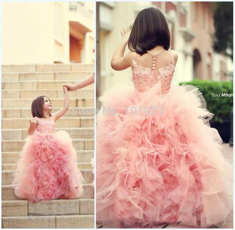 neue Mutter und Tochter rosa mädchen festzug kleider Spitzenrüschen tüll blume kinder partykleid kleider für ball party