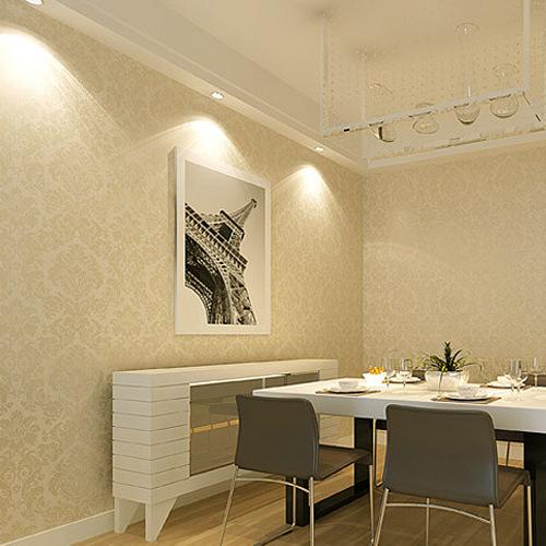 Sala De Estar Bege ~ papel de parede bege damasco floral wallpaper cenário sala de estar