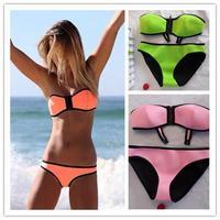 2014 women sexy Neoprene Swimsuit Similar triangle Neoprene Bikini Superfly Swimsuit Neoprene Swimwear 9 Colors 203G04