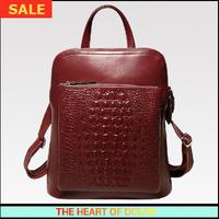Luxury Genuine Leather Women Backpack Alligator Solid Girl School Bag zipper Vintage OL Travel Bag laptop Bag B223