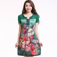 The new summer Korean V neck dress dress slim slim flower