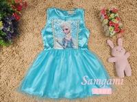 Satin Vestido Frozen Elsa Dress Kids Clothes Girl Beautiful Toddler Children's Fancy Dress for Fashion 2014 Summer Baby Clothing